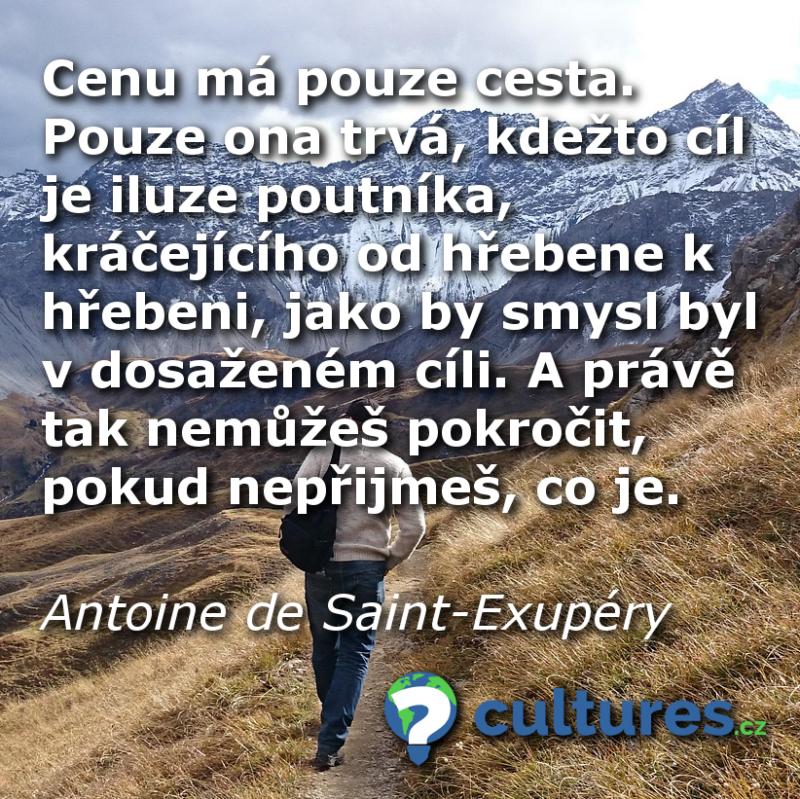 Citát o cestování od Antoine de Saint-Exupéryho.